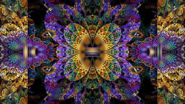 Abstract Print featuring the digital art Mardi Gras Split Crop by Peggi Wolfe