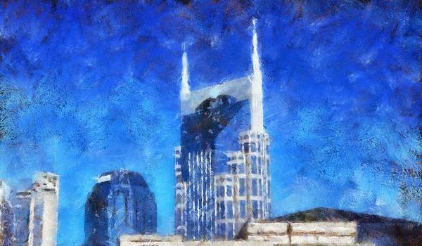 Nashville Skyline Print featuring the painting Nashville Skyline by Dan Sproul