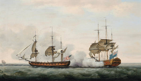 The East India Company's Ship Bridgewater Successfully Defending Her Cargo From An Attack By The American Privateer Hampden On Her Way From St. Helena To England On 8th March Print featuring the painting Sea Battle by Francis Holman