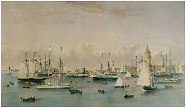 Natuaniel Currier Print featuring the painting The Yacht Squadron At Newport by Nathaniel Currier and James Merritt Ives
