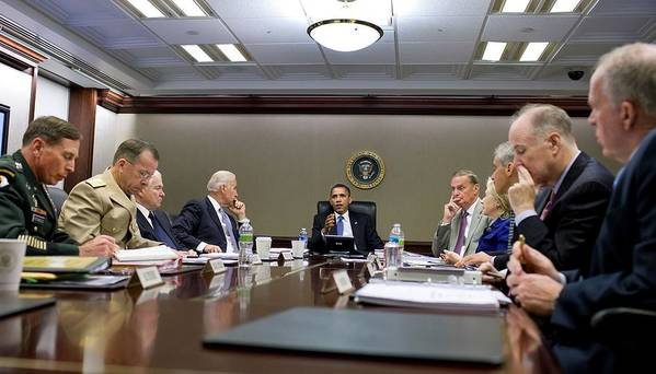 History Print featuring the photograph President Obama Meets With His National by Everett