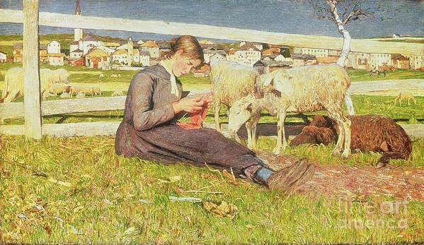 Girl Print featuring the painting A Girl Knitting by Giovanni Segantini