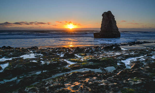 Davenport Beach Print featuring the photograph Davenport Beach Sunset 1 by About Light Images