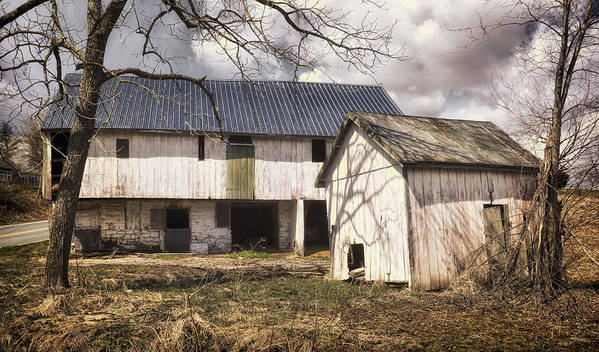 Agriculture Print featuring the photograph Barn Near Utica Mills Covered Bridge by Joan Carroll