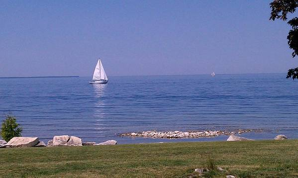 Hot Summer Day Print featuring the photograph cruisin down the Bay on a Sunday afternoon by Dawn Koepp