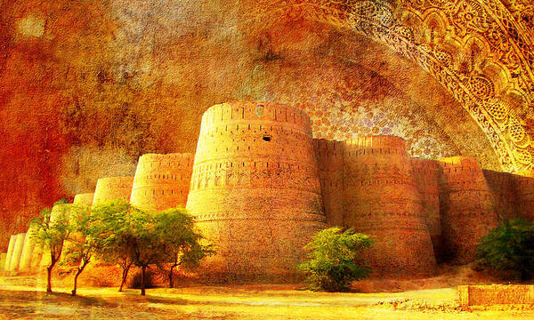 Pakistan Print featuring the painting Derawar Fort by Catf