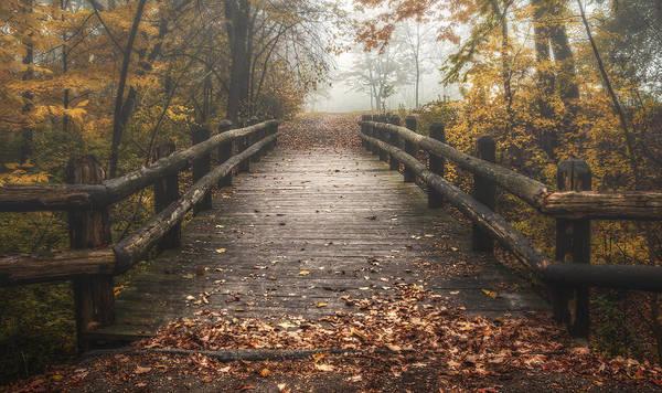 Bridge Print featuring the photograph Foggy Lake Park Footbridge by Scott Norris
