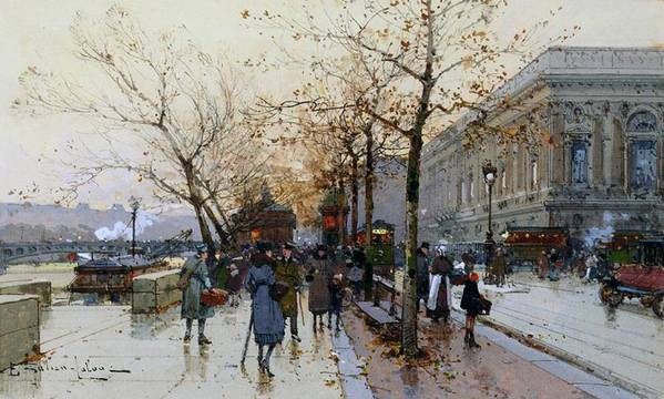 Right Bank Print featuring the painting Near The Louvre Paris by Eugene Galien-Laloue