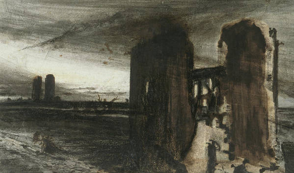 Victor Hugo Print featuring the painting Ruins In A Landscape by Victor Hugo