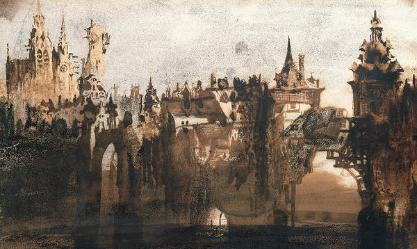 Victor Hugo Print featuring the painting Town With A Broken Bridge by Victor Hugo