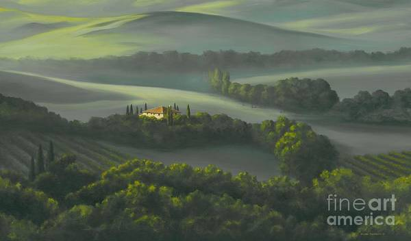 Tuscany Landscape Print featuring the painting Tuscan Daybreak by Michael Swanson