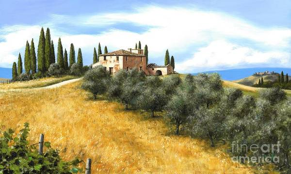 Tuscany Italy Print featuring the painting Tuscan Sentinels by Michael Swanson