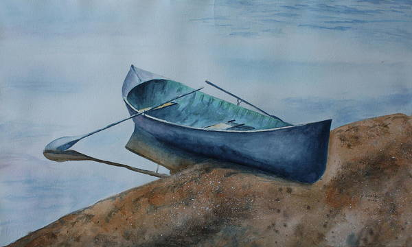 Canoe Print featuring the painting Solitude by Patsy Sharpe