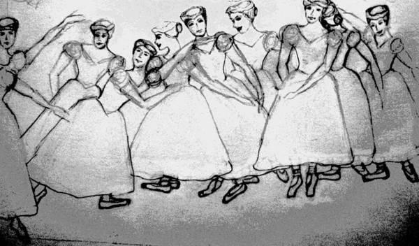 Girls Print featuring the drawing Warming Up - The Ballet Chorus by Forartsake Studio