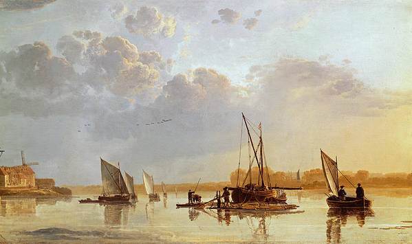 Boats On A River Print featuring the painting Boats On A River by Aelbert Cuyp