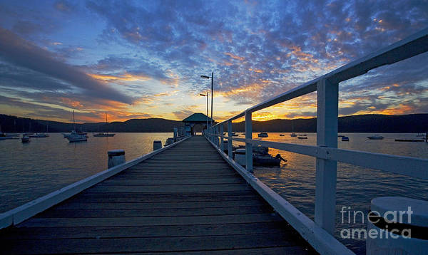 Palm Beach Sydney Wharf Sunset Dusk Water Pittwater Print featuring the photograph Palm Beach Wharf At Dusk by Avalon Fine Art Photography