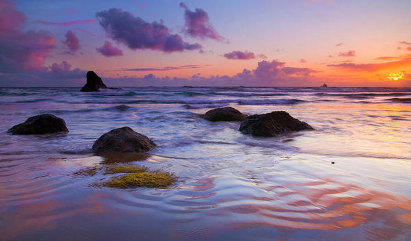 Sunset Print featuring the photograph Sunset Ripples by Mike Dawson
