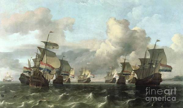 The Print featuring the painting The Dutch Fleet Of The India Company by Ludolf Backhuysen