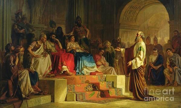 Nikolai K Bodarevski Print featuring the painting Trial Of The Apostle Paul by Nikolai K Bodarevski