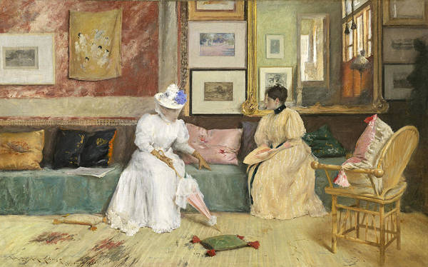 Sitting; Room; Parasol; Conversation; Interior; Society; American; Impressionist; Impressionism; Visit; Ten; Group; Friends; Conversing Print featuring the painting A Friendly Call by William Merritt Chase