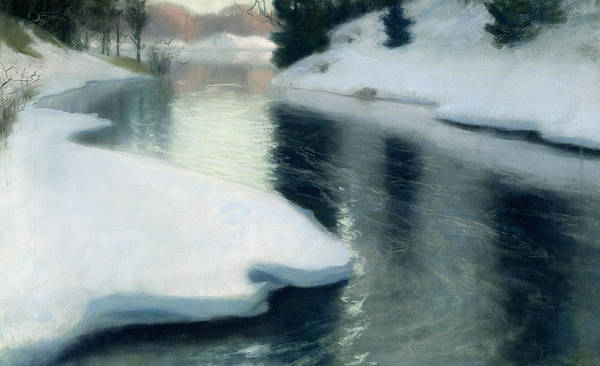 Ice; Melting; Seasons; Water; Thawing; Riverbank; Bank Print featuring the painting Spring Thaw by Fritz Thaulow