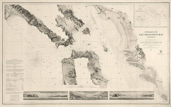 San Francisco Print featuring the drawing Antique Map Of San Francisco - Usgs Coast Survey Map - 1859 by Blue Monocle