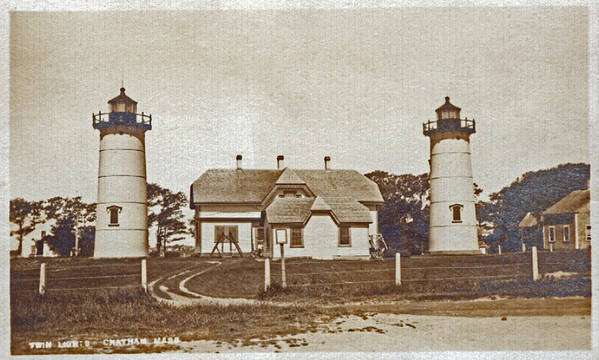 Chatham Print featuring the photograph Chatham Twin Lights 1908-18 by Skip Willits