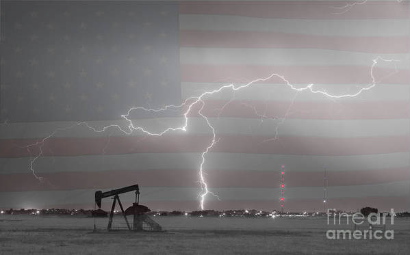 Lightning Print featuring the photograph Crude Oil And Natural Gas Striking Across America Bwsc by James BO Insogna