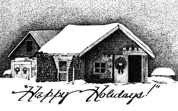 Holiday Barn Print featuring the drawing Holiday Barn by Joy Bradley