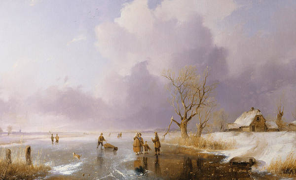 Winter Print featuring the painting Landscape With Frozen Canal by Remigius van Haanen