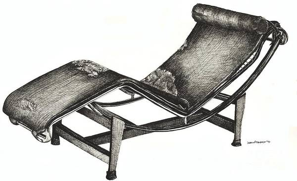 Chaise Longue Print featuring the drawing Leather Chaise Longue by Adendorff Design