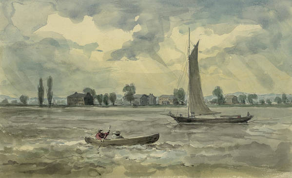 River Print featuring the painting Old Quarantine Station Circa 1857 by Aged Pixel