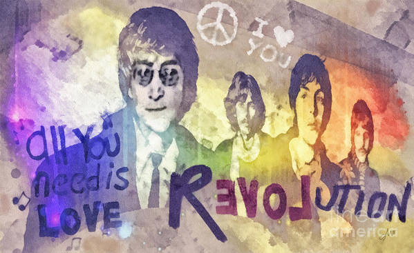 Revolution Print featuring the mixed media Revolution by Mo T