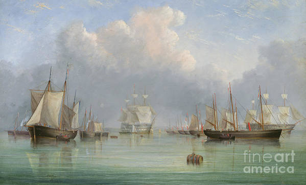 Floating; Barrel; Cask; Fleet; Boats; Vessels; Isle Of Wight; Coast; Coastal; English; Sails; Reflection; Anchored Print featuring the painting Ships Off Ryde by Arthur Wellington Fowles