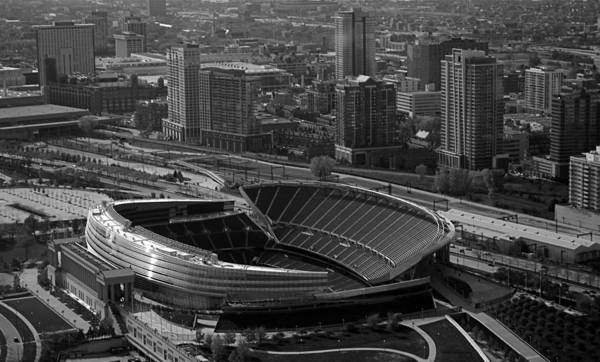 Chicago Print featuring the photograph Soldier Field Chicago Sports 05 Black And White by Thomas Woolworth