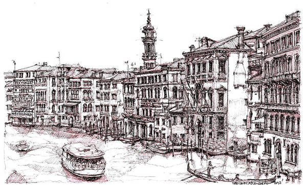 Venice Print featuring the drawing Venice In Pen And Ink by Adendorff Design
