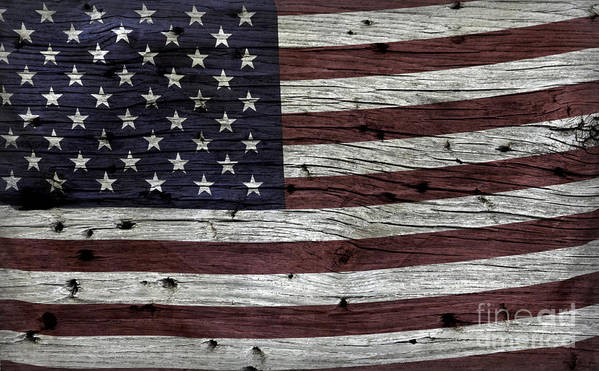 Usa Print featuring the photograph Wooden Textured Usa Flag3 by John Stephens