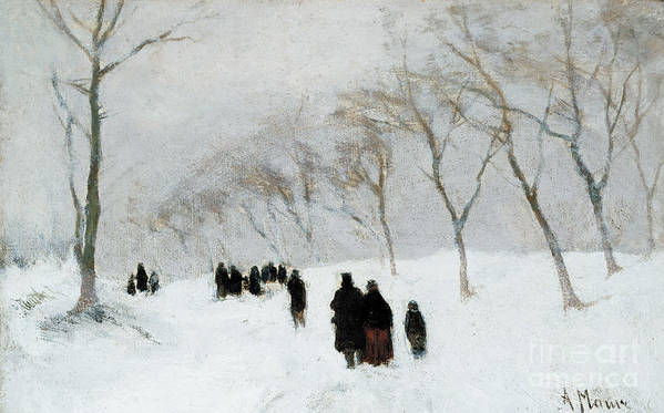 Winter Scene Print featuring the painting Snow Storm by Anton Mauve