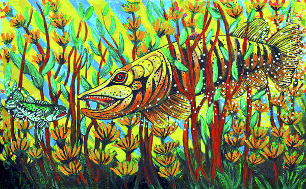 Tiger Muskie Print featuring the painting Tiger Muskie by Bob Crawford
