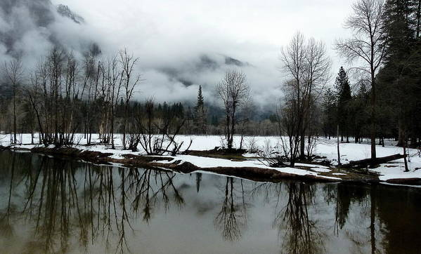 Yosemite In Winter Print featuring the photograph Yosemite River View In Snowy Winter by Jeff Lowe