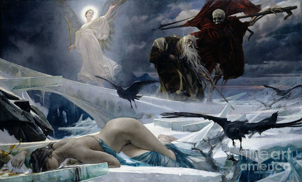 Ahasuerus Print featuring the painting Ahasuerus At The End Of The World by Adolph Hiremy Hirschl