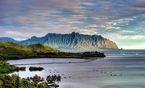 Hawaii Print featuring the photograph He'eia Fish Pond And Kualoa by Dan McManus