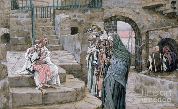 Christian Print featuring the painting Jesus And The Little Child by Tissot