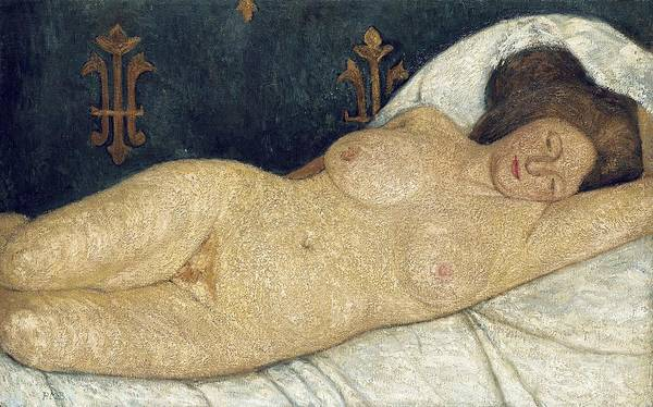 Reclining Female Nude Print featuring the painting Reclining Female Nude by Paula Modersohn-Becker