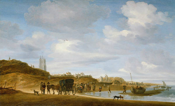 The Print featuring the painting The Beach At Egmond An Zee by Salomon van Ruysdael