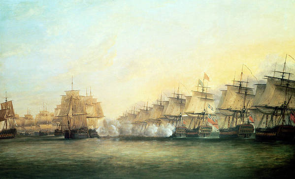 The Print featuring the painting The Fourth Action Off Trincomalee Between The English And The French by Dominic Serres