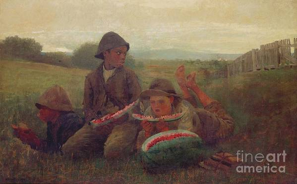 Children Print featuring the painting The Watermelon Boys by Winslow Homer
