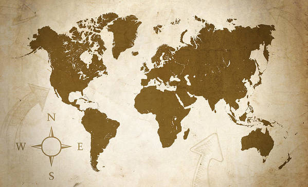 Map Print featuring the digital art World Grunge by Ricky Barnard