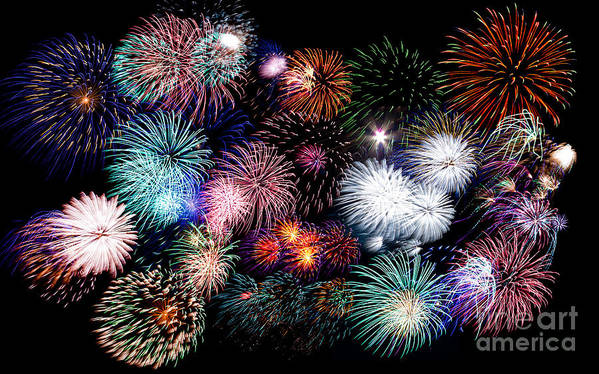 4th Print featuring the photograph Colorful Fireworks Of Various Colors In Night Sky by Stephan Pietzko