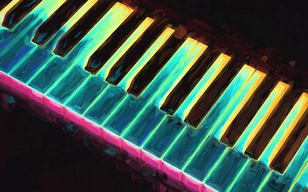 Piano Print featuring the painting Colorful Keys by Bob Orsillo